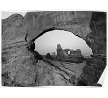 Wide Angle of Turret Arch through the North Window in Black and White  Poster