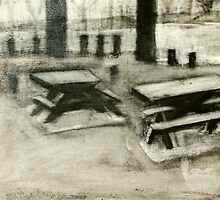 between the beach and river - picnic tables by donnamalone
