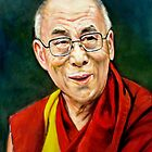 portrait of 14th Dalai Lama by Hidemi Tada