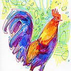 Rooster drawing by Gwenn Seemel