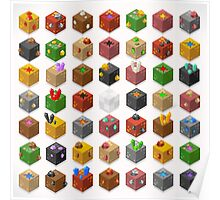 Mine Cubes Isometric Poster