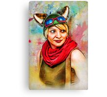 Steampunk D20 Girl Canvas Print