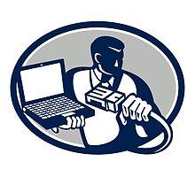 Computer Technician Holding Laptop Cable Retro by patrimonio