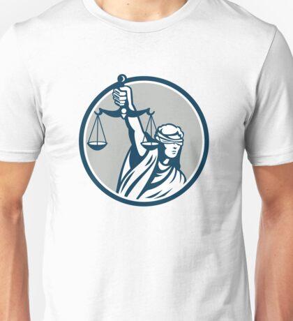Lady Blindfolded Holding Scales Justice Front Retro Unisex T-Shirt