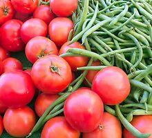 Farm Fresh Tomatoes and Beans by Ram Vasudev
