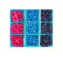 Farm Fresh Berries - Raspberries Blueberries Blackberies Art Print