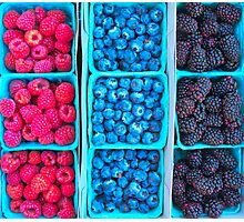 Farm Fresh Berries - Raspberries Blueberries Blackberies Photographic Print