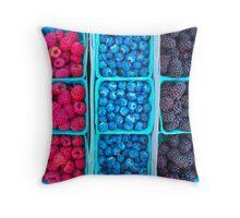 Farm Fresh Berries - Raspberries Blueberries Blackberies Throw Pillow