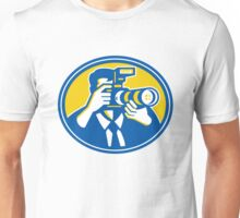 Photographer Shooting DSLR Camera Retro Unisex T-Shirt