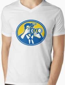 Photographer Shooting DSLR Camera Retro Mens V-Neck T-Shirt