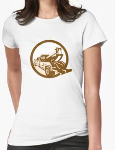 Tow Truck Wrecker Rear Retro Womens Fitted T-Shirt