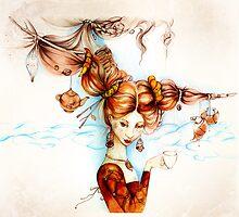 Beautiful vintage girl with ladybird and cruasan by Maryna  Rudzko