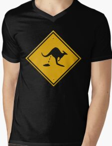 Road sign - warning kangaroo shit Mens V-Neck T-Shirt