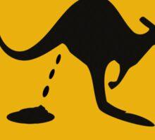 Road sign - warning kangaroo shit Sticker
