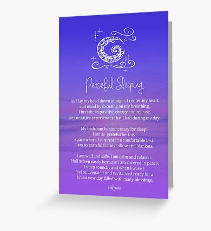 Affirmation - Peaceful Sleeping Greeting Card