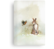 Hare and Robin Canvas Print