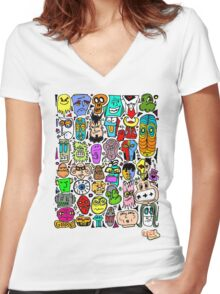 CRAZY DOODLE 2 Women's Fitted V-Neck T-Shirt