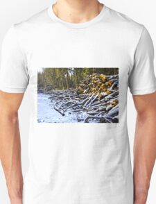 Snow covered woodpiles T-Shirt