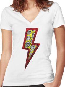 SKULL STRIKE Women's Fitted V-Neck T-Shirt