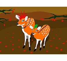 punk deer with skull tattoo Photographic Print