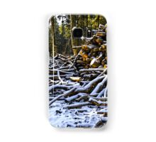 Snow covered woodpiles Samsung Galaxy Case/Skin
