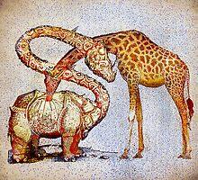 Improbable love (but sincere) of madam giraffe and sir rinohcérose by ganechJoe