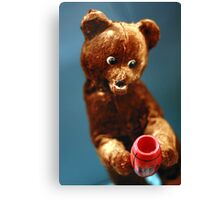 Vintage Doll Brown Bear with a Honey Pot Canvas Print