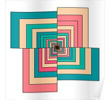 Abstract colorful Retro geometric hexagon pattern  Poster