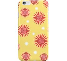 Orange white floral pattern on yellow iPhone Case/Skin