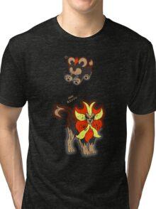 Litleo and Pyroar Distressed  Tri-blend T-Shirt