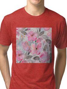 Cute watercolor hand paint flowers design Tri-blend T-Shirt