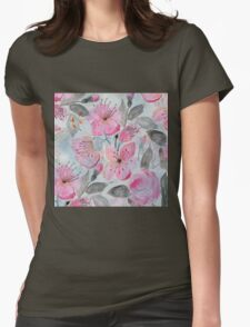 Cute watercolor hand paint flowers design Womens Fitted T-Shirt