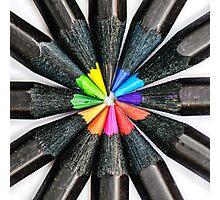Black Colorful Pencils Photographic Print