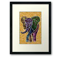 Elephant Floral Batik Art Design Framed Print