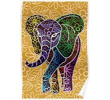 Elephant Floral Batik Art Design Poster