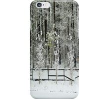 Trees and Fence Covered in Snow iPhone Case/Skin