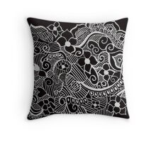 Black Blossoms Throw Pillow
