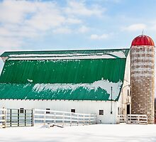 Snowy Barn and Silo by Kenneth Keifer