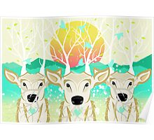 Roots To Grow and Wings To Fly (Three Deer New Dawn) Poster