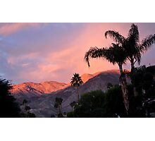 WATERCOLOR SUNSET OVER MOUNTANS  Photographic Print