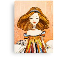 Girl in feather dress Canvas Print
