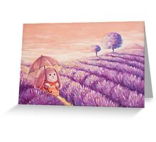 Bunny in lavender fields Greeting Card