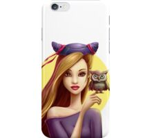 Girl with little cute owl iPhone Case/Skin