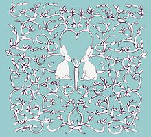 Green Blue Rabbits Filigree Leaves by Donna Huntriss