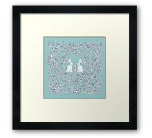 Green Blue Rabbits Filigree Leaves Framed Print