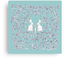 Green Blue Rabbits Filigree Leaves Canvas Print