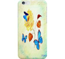 Morph Butterflies on Yellow Rose iPhone Case/Skin
