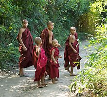monks on the trail by Anne Scantlebury