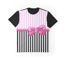 Ribbon, Bow, Stripes (Parallel Lines) - White Black Pink Graphic T-Shirt