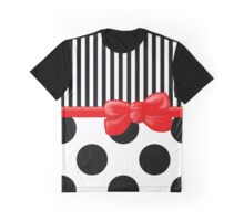 Ribbon, Bow, Polka Dots, Stripes - Black White Red Graphic T-Shirt